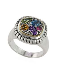 Effy | Metallic Sterling Silver 18kt Yellow Gold And Multi Stone Ring | Lyst