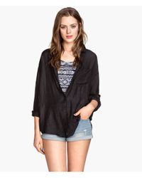 H&M - Black Wide Shirt - Lyst