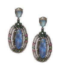 Bavna   Multicolor Tourmaline, Labradorite, Champagne Diamond & Sterling Silver Drop Earrings   Lyst