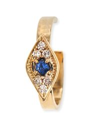 Sydney Evan - Metallic Single Evil Eye Earring Cuff With Sapphires And Diamonds - Lyst