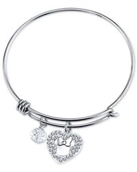 Disney | Metallic Minnie Crystal Charm Bracelet In Stainless Steel | Lyst