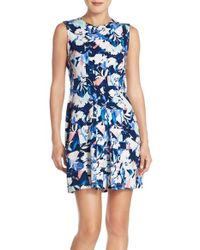 Charles Henry - Orange Graphic Stretch Crepe Fit & Flare Dress - Lyst