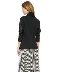 DKNY - Black Pure Draped Leather Jacket - Lyst