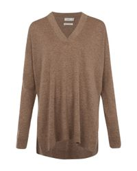 VINCE | Brown Slim Fit V-neck Cashmere Knitted Jumper | Lyst