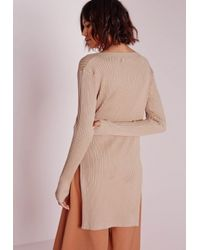 Missguided - Natural V Neck Knitted Rib Tunic Camel - Lyst