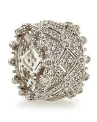 Judith Ripka | Metallic Deco Estate Diamond Wide Band Ring | Lyst