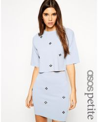 ASOS - Blue Co-ord Cropped Knitted Tee With All Over Embellishment - Lyst