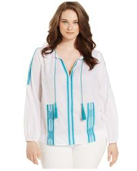 Michael Kors | Blue Michael Plus Size Embroidered Peasant Top | Lyst