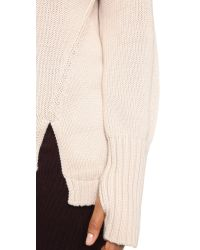 525 America | Natural Asymmetrical Turtleneck Sweater | Lyst
