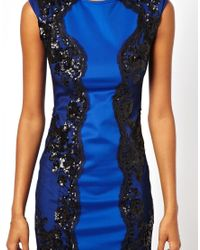 Little Mistress - Blue Bodycon Dress with Lace Panels - Lyst