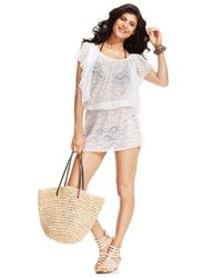 Jessica Simpson | White Crochet Flutter-Sleeve Cover Up | Lyst