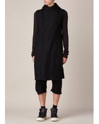 Rick Owens - Black Sleeveless Hooded Cardigan for Men - Lyst