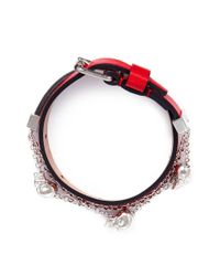 Alexander McQueen | Red Skull Chain Double Wrap Leather Bracelet | Lyst