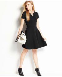 Ann Taylor | Black Split Neck Skirt Dress | Lyst