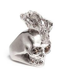 Alexander McQueen | Pink Crystal Punk Fish Skull Ring | Lyst