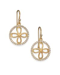 Mija | Metallic White Sapphire Four-petal Filigree Drop Earrings | Lyst
