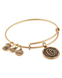 ALEX AND ANI | Metallic Initial O Charm Bangle | Lyst