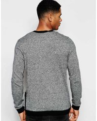 ASOS - Gray Cotton Jumper With Side Zip Pockets - Black & White Twist for Men - Lyst