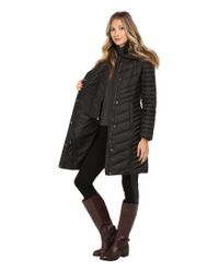 "Marc New York | Black Karla 37"" Chevron Down W/ Faux Fur Hood 
