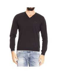 Armani Jeans - Black Sweater V With Patches Contrast for Men - Lyst