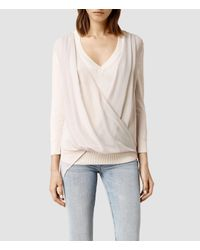 AllSaints | Natural Abi Knit Top | Lyst