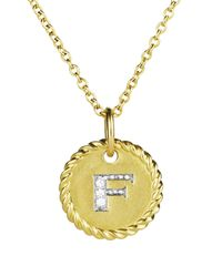 "David Yurman - Yellow Cable Collectibles Initial Pendant With Diamonds In Gold On Chain, 16-18"" - Lyst"