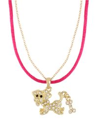 Betsey Johnson - Pink Crystal encrusted Dog Pendant Necklace - Lyst