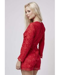 TOPSHOP - Red Lace Playsuit - Lyst