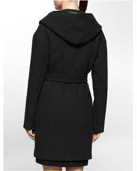 Calvin Klein - Black Textured Shawl Neck Belted Coat - Lyst