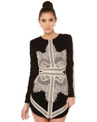 Akira Black Label - The Believer Black Lace Panel Dress - Lyst