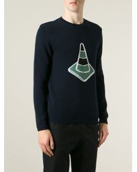 Carven | Blue Traffic Cone Intarsia Sweater for Men | Lyst