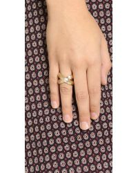 Giles & Brother - Metallic Large X Knot Ring - Gold - Lyst