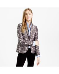 J.Crew | Purple Campbell Blazer In Feather Print | Lyst