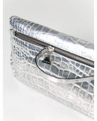 Golden Lane - Metallic Croc Duo Clutch Silver - Lyst