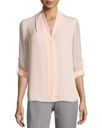 Elie Tahari - Pink Ginny Tab-sleeve Silk Blouse - Lyst