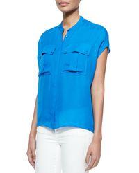 Vince - Pink Cap-Sleeve Silk Pocket Blouse - Lyst