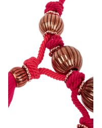 Lanvin - Red Tassled Enameled Bead Necklace - Lyst