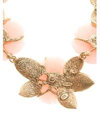 Oscar de la Renta - Pink Peonyembellished Necklace - Lyst