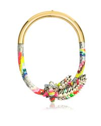Shourouk - Multicolor Aigrette Rainbow Necklace - Lyst