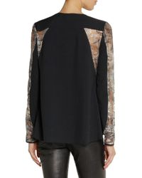 Philosophy - Black Lace-Paneled Crepe Top - Lyst