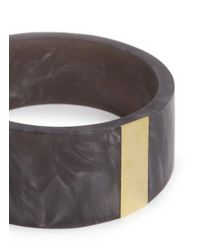 Isabel Marant - Gray Brass Panel Pearlescent Resin Bangle - Lyst