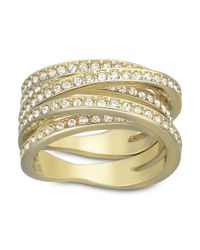 Swarovski - Metallic Spiral Goldtone Crystallized Ring - Lyst