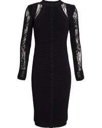 Antonio Berardi - Black Buttoned Lace Inset Dress - Lyst