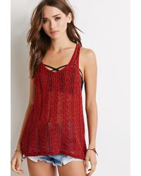 Forever 21 - Red Chevron Open-knit Sweater You've Been Added To The Waitlist - Lyst