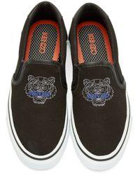 KENZO | Black Tiger Slip-on Sneakers | Lyst