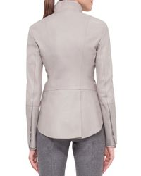 Akris - Gray Long-sleeve Leather Tailcoat Jacket - Lyst