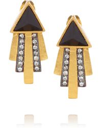 Kevia - Black Gold-plated, Onyx And Crystal Earrings - Lyst