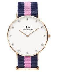Daniel Wellington - Blue 'classy Winchester' Crystal Index Nato Strap Watch - Lyst
