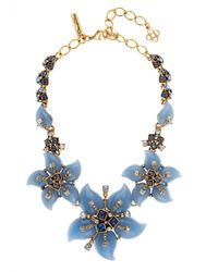 Oscar de la Renta - Blue Flower Bib Necklace - Lyst