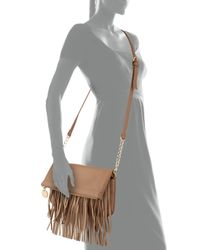 Deux Lux - Brown Fauxleather Fringe Foldover Crossbody Bag Camel - Lyst